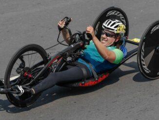 Atleta treinando partida ciclismo